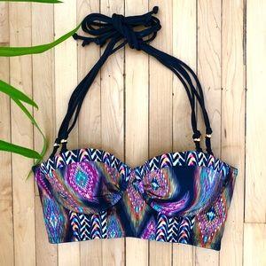 Boho patterned bikini top